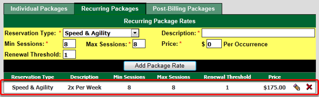 Package Rates Setup - Recurring