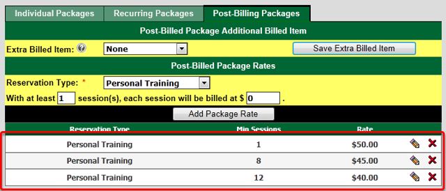 Package Rates Setup - Post Billed