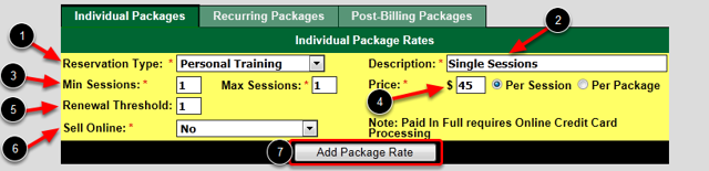 Package Rates Setup - Individual
