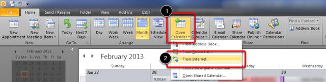 Open Outlook Calendar