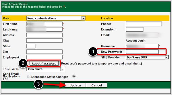 Enter or Reset Password