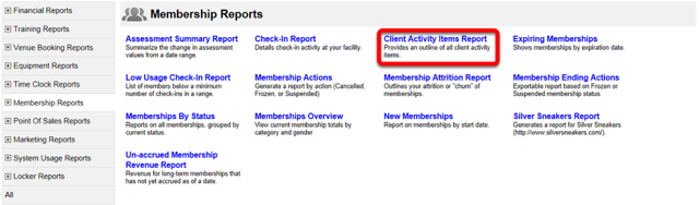 Client Activity Items Report