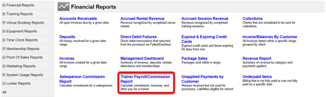 Trainer Payroll/Commission Report