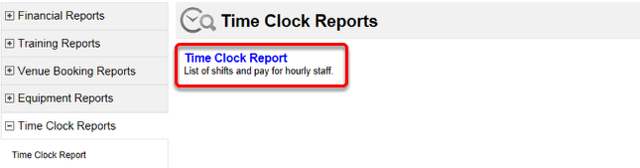 Time Clock Report