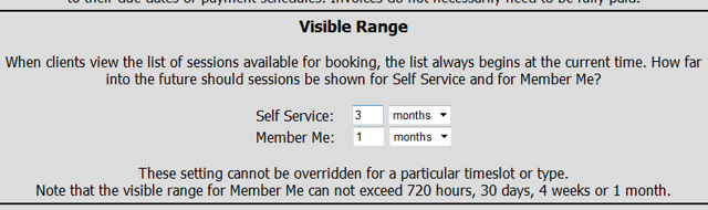 Set the Visible Range for MemberMe+ Reservations