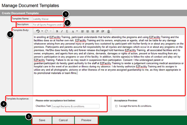 Create/Edit Document Template