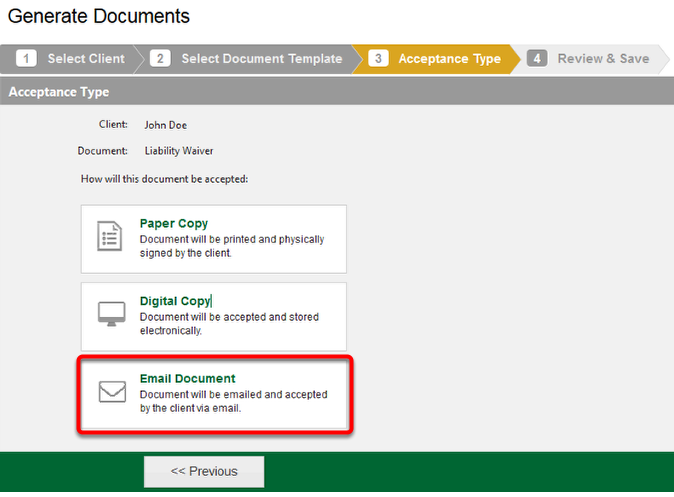 Generate Documents - Acceptance Type