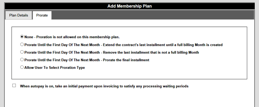 Membership Plan Default Prorate Settings