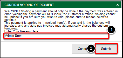Confirm Voiding of Payment