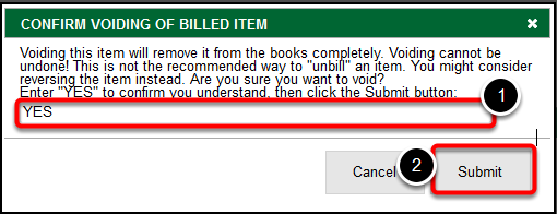 Confirm Voiding of Billed Item