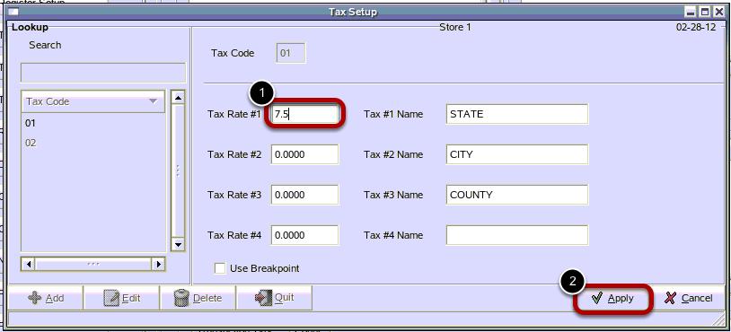 Change Tax Rate