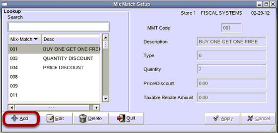 Add Mix Match Code