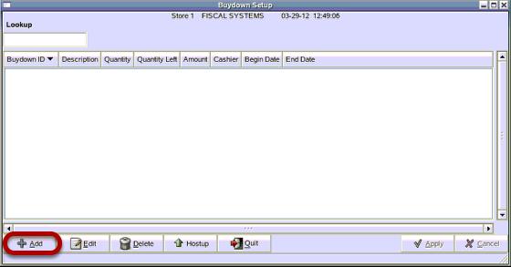 Buydown Setup Screen