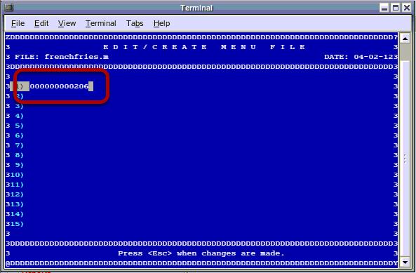 Edit/Create Menu File Continued