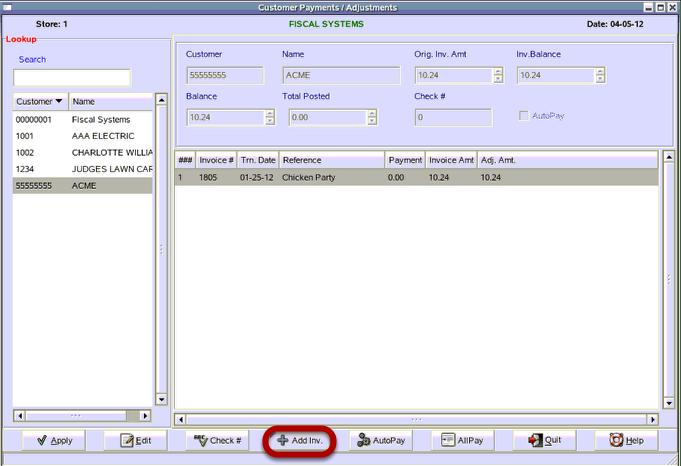 Customer Payments / Adjustments