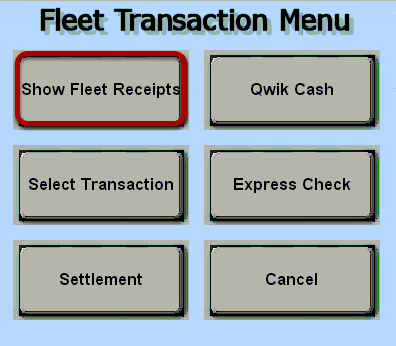 Fleet Transaction Menu