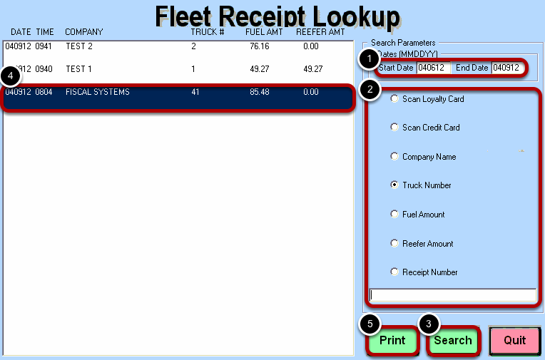Fleet Receipt Lookup