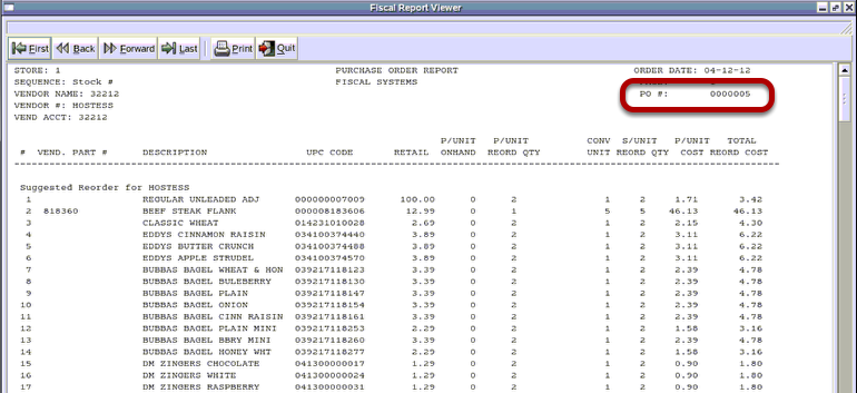 Purchase Order Report
