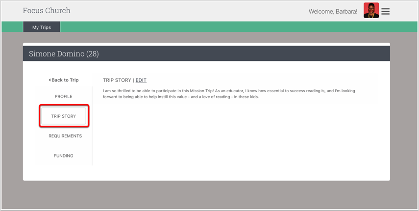 Accessing Trip Stories