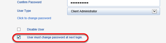 Click the box that requires users to change their password.