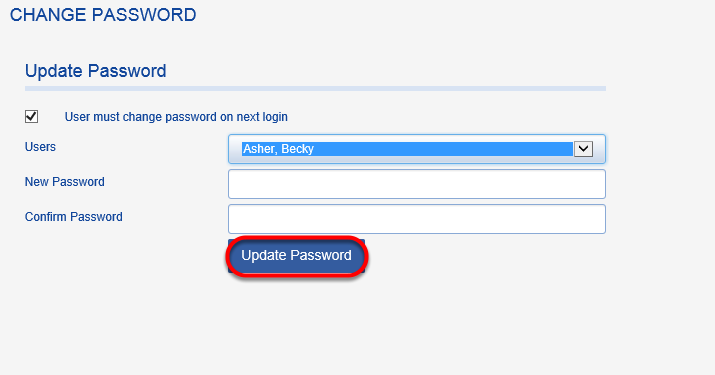 Enter new password and confirm it.  Click on UPDATE PASSWORD.