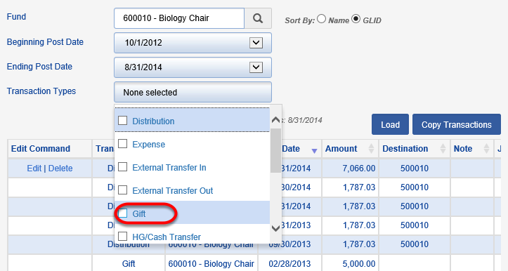 Enter a posting period and choose GIFT as the TRANSACTION TYPE.