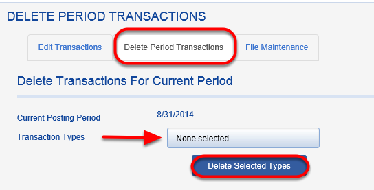 To delete all gifts in the current posting period, click on the DELETE PERIOD TRANSACTIONS tab. Select transaction types and click DELETE SELECTED TYPES.