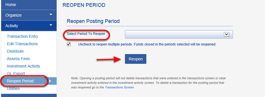 In order to delete gifts from a past posting period, the past period must first be reopened.  To do so, click on ACTIVITY > REOPEN PERIOD.  Once you have reopened the period you can use the DELETE PERIOD TRANSACTION feature.