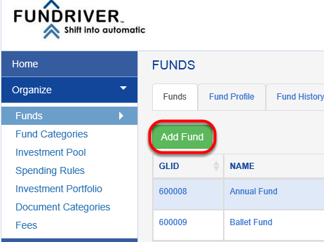 On the FUNDS tab, click on the green ADD FUND button.