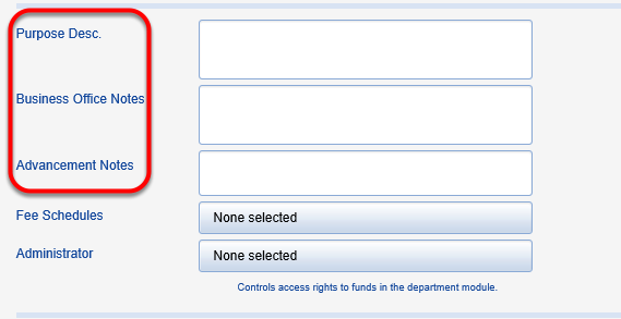 Enter fund use restriction and any notes you would like pulled into donor reporting into the fields shown below.