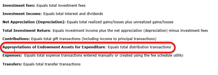 The APPROPRIATIONS OF ENDOWMENT ASSETS FOR EXPENDITURE line equals total distribution transactions for ALL POOLS.