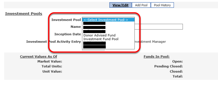 If the INVESTMENT POOL drop down contains multiple listings, you have multiple investment pools.
