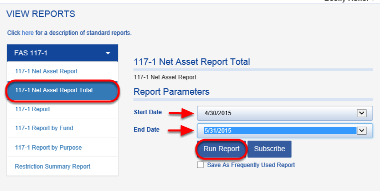 Run the 117-1 NET ASSET REPORT TOTAL for the period you are reconciling.