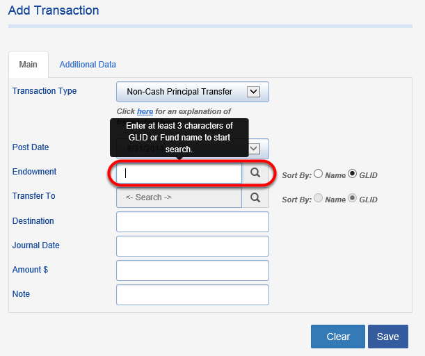 Search for the endowment to which you want to apply the transfer.