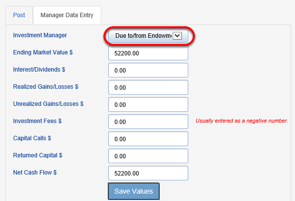 Next, choose the Due to/from field from the INVESTMENT MANAGER drop down.