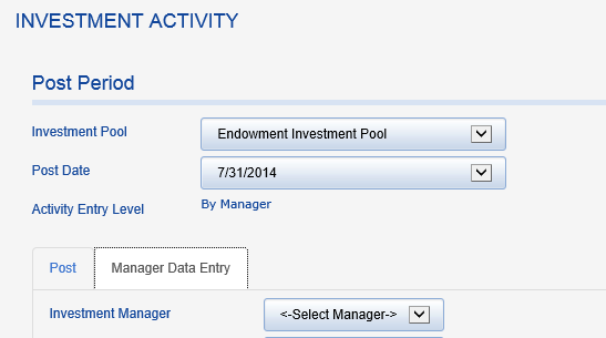 Click on MANAGER DATA ENTRY.