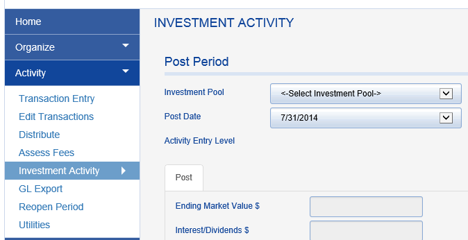 Click on ACTIVITY > INVESTMENT ACTIVITY.
