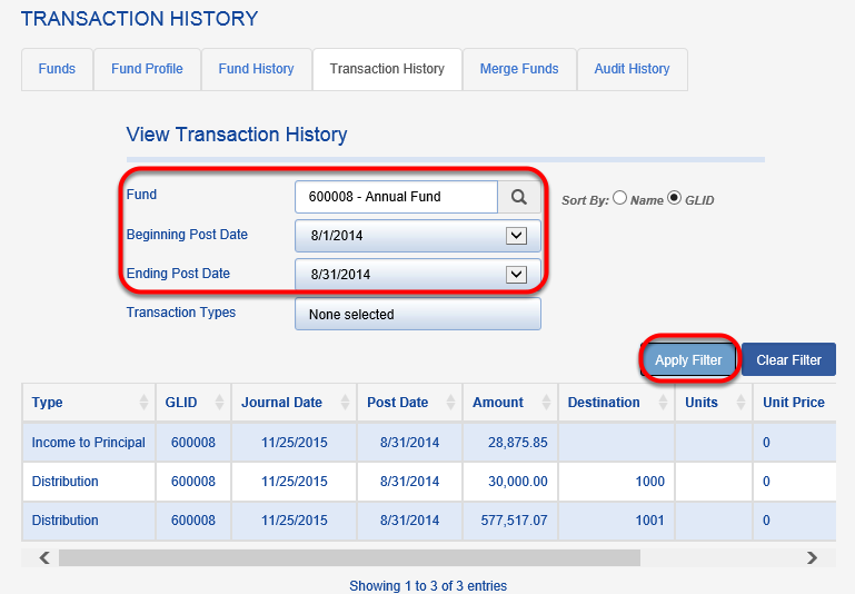 Once distributions are created, you should be able to see the transactions that were created based on your distribution rules by navigating to ORGANIZE > FUND > TRANSACTION HISTORY and entering your FUND name and POST DATES.