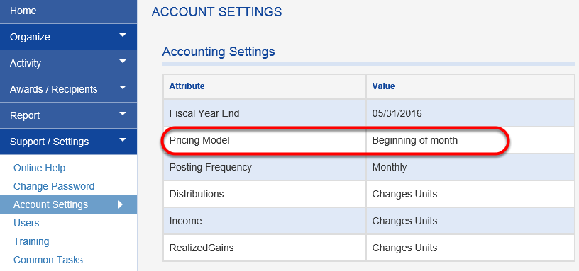 Under ACCOUNTING SETTINGS, you can see how your pricing model is set up in Fundriver.
