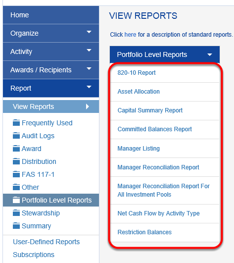 Upgrading to the Investment Portfolio module opens up a new suite of detailed, portfolio-level reports.