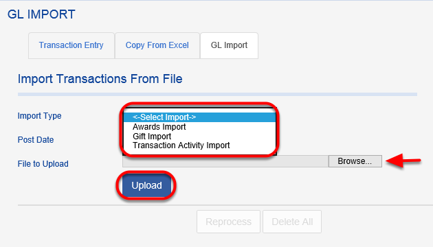 First select the import type from the IMPORT TYPE drop down box. Use the BROWSE feature to locate the file you have created and saved for uploading. Once you have the file for uploading select the UPLOAD button and that file and records will be committed to the database.