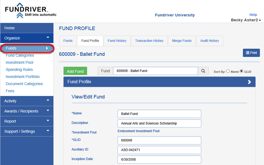 Workflow is managed through a dashboard located on the home page as well as in the FUND PROFILE.  The initial creation of a Workflow item begins on the FUND PROFILE page of a fund.