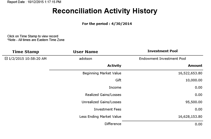 Reconciliation Activity History: Shows a snapshot and User ID of the investment pool reconciliation each time the Reconcile button is clicked on the investment activity screen.