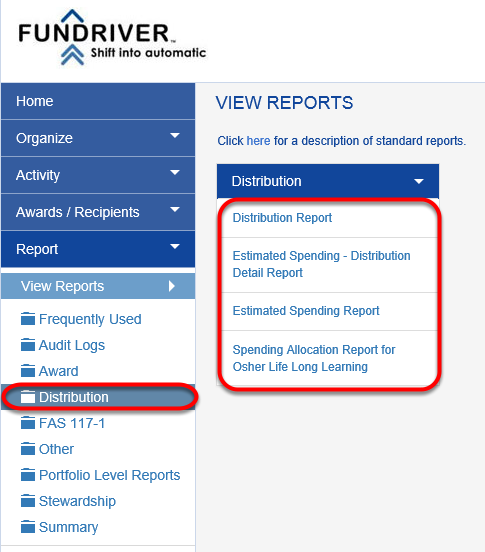 Access DISTRIBUTION reports by navigating to REPORT > DISTRIBUTION in Fundriver.  The reports available in this section are listed below.