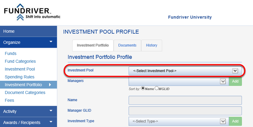 On the INVESTMENT PORTFOLIO tab, click on the INVESTMENT POOL to which you are adding an investment manager.