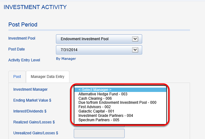 The new investment manager should appear in the INVESTMENT MANAGER drop down.