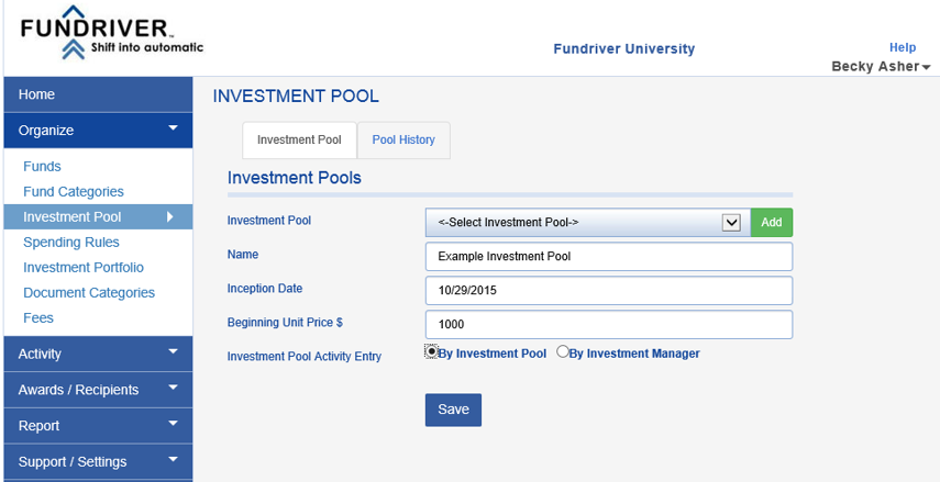 An Example:  A pool is established with four endowments, each of which contribute $100,000 to the pool.  The beginning unit price chosen is $1,000 per unit (Fundriver usually uses $100 or $50, but for the purposes of illustration a four-figure number works better).