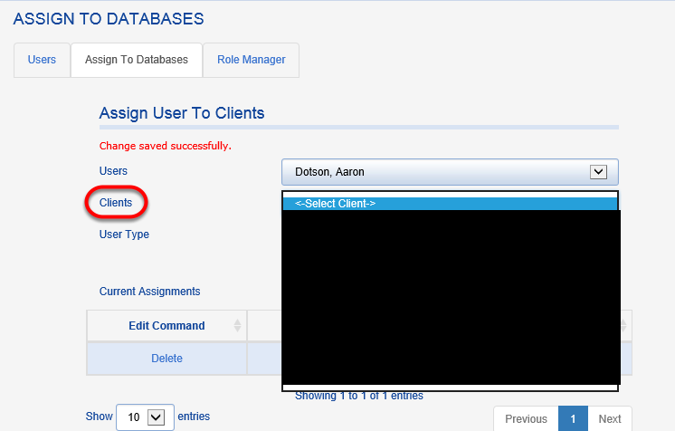 To assign a user to a new/additional database, select the user's name and chooses the new database from the CLIENTS drop down.