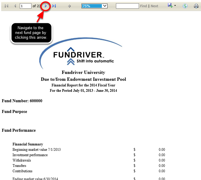 Donor Report for All Funds: Shows fund purpose and performance for all funds. This report can be customized to include a logo and footnotes.