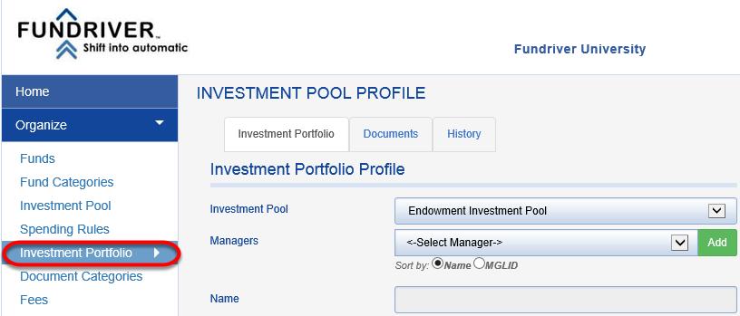 Click on INVESTMENT PORTFOLIO.